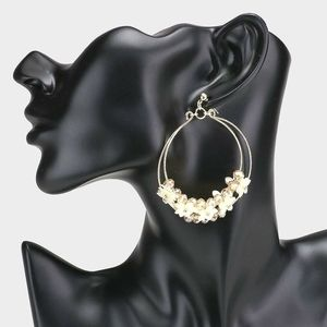 Ivory Flower Beaded Double Hoop Dangle Earrings